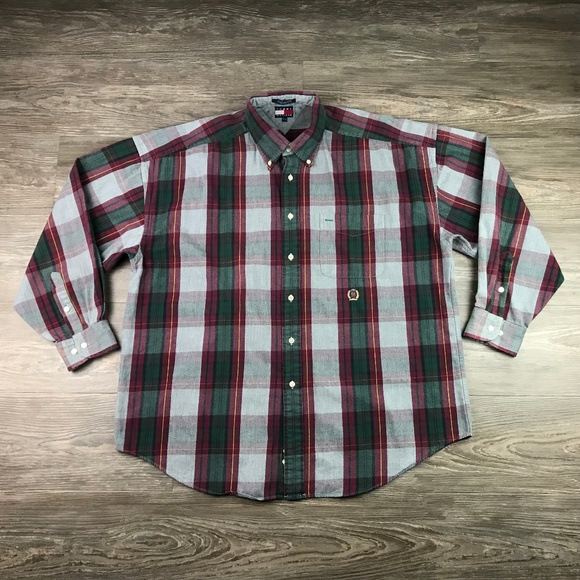 09c5c94d Tommy Hilfiger Shirts | Vtg 90s Button Down Flannel Shirt | Poshmark